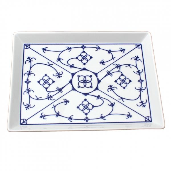 Tallin   Indischblau   Partyplatte eckig 15cm x 20cm
