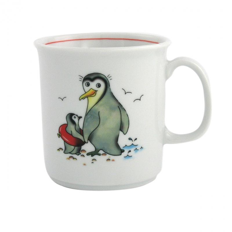 Kindergedecke | Pinguin | Becher mit Henkel 0,21l