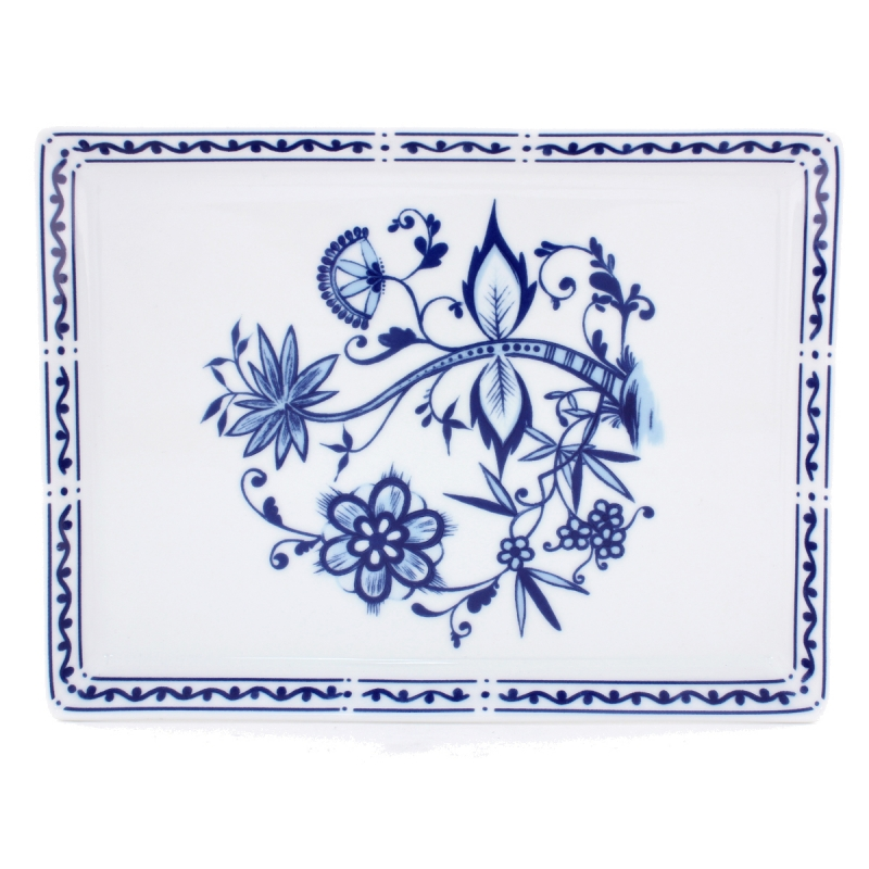 Romantika | Zwiebelmuster | Partyplatte eckig 21cm x 35cm